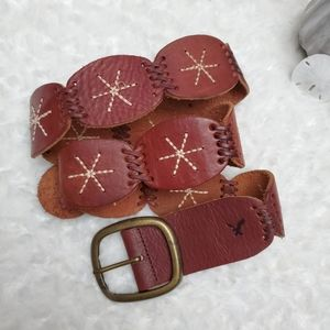 AEO Brown Leather Embroidered Belt